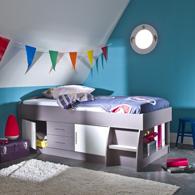 lit enfant sur lev rangement gain de place blanc taupe acheter ce produit au meilleur prix. Black Bedroom Furniture Sets. Home Design Ideas