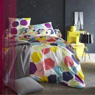 Housse de couette imprim multicolore en pur coton picture - Housse de couette multicolore ...