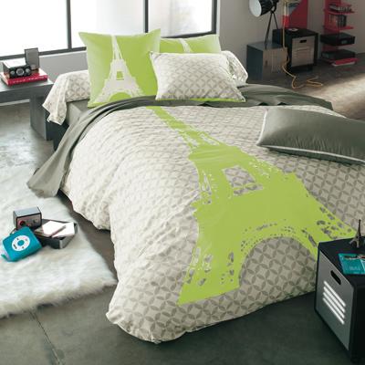 housse de couette imprim gris vert anis en pur coton structure acheter ce produit au meilleur. Black Bedroom Furniture Sets. Home Design Ideas