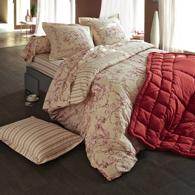 Housse de couette en pur coton imprim rouge marquise - Housse de couette toile de jouy rouge ...