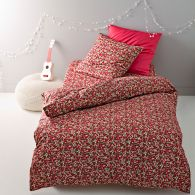 drap housse motif fleuri rouge en pur coton coloris rouge rose flori acheter ce produit au. Black Bedroom Furniture Sets. Home Design Ideas