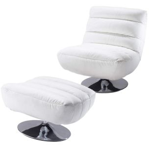 fauteuil et repose pieds cuir blanc pompidou acheter ce produit au meilleur prix. Black Bedroom Furniture Sets. Home Design Ideas