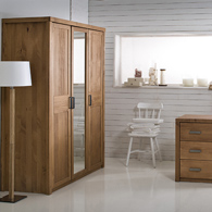 Armoire penderie 3 portes miroir helsinki en pin massif certifi fsc ache - Armoire penderie miroir ...
