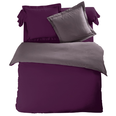 housse de couette bicolore violet taupe en flanelle tertio. Black Bedroom Furniture Sets. Home Design Ideas