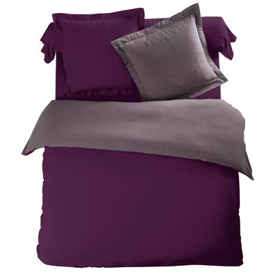 housse de couette bicolore violet taupe en flanelle tertio acheter ce produit au meilleur prix. Black Bedroom Furniture Sets. Home Design Ideas