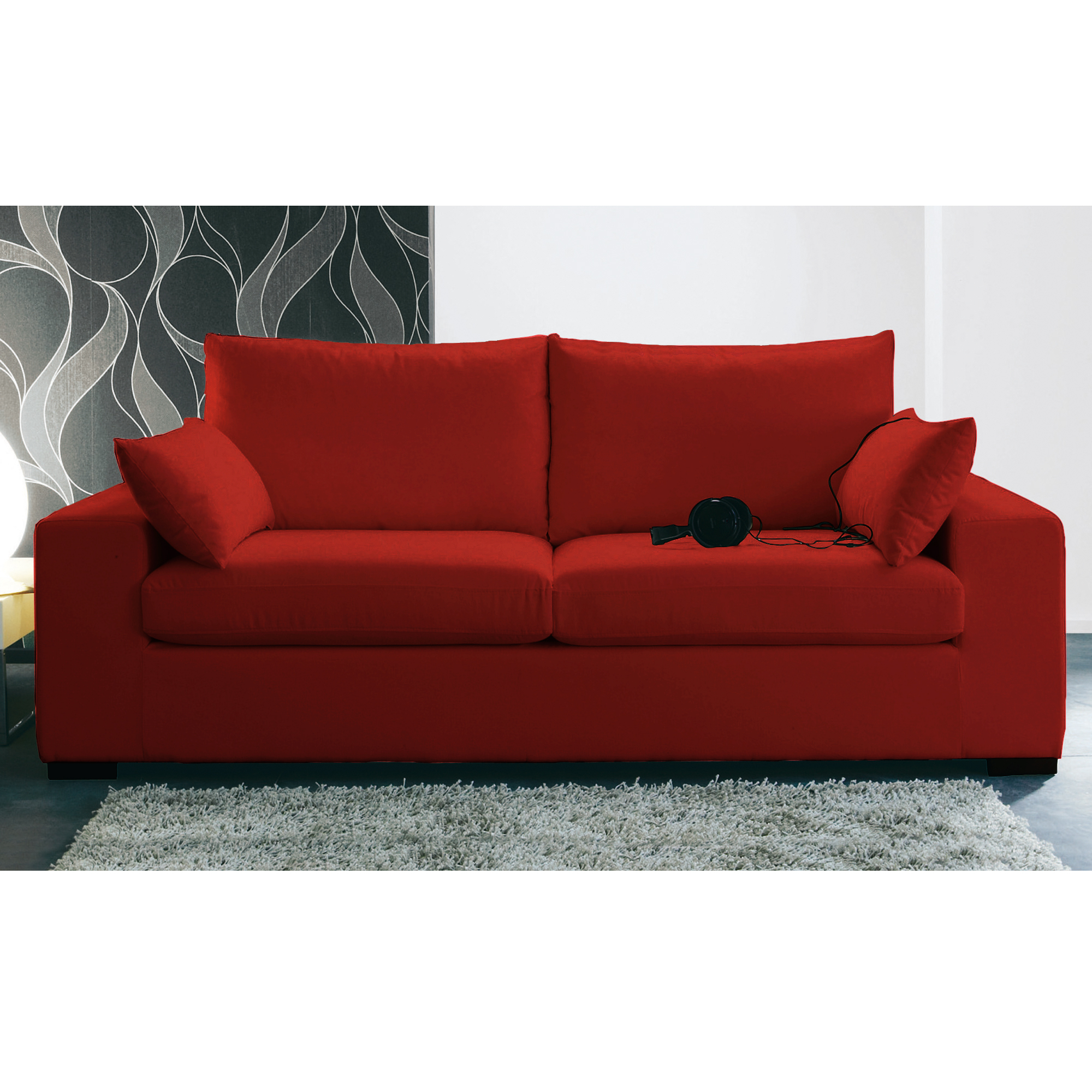 Canap 3 places convertible vittorio 2 rouge - Canape rouge 2 places ...