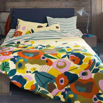 housse de couette vert orange en pur coton adara acheter ce produit au meilleur prix. Black Bedroom Furniture Sets. Home Design Ideas