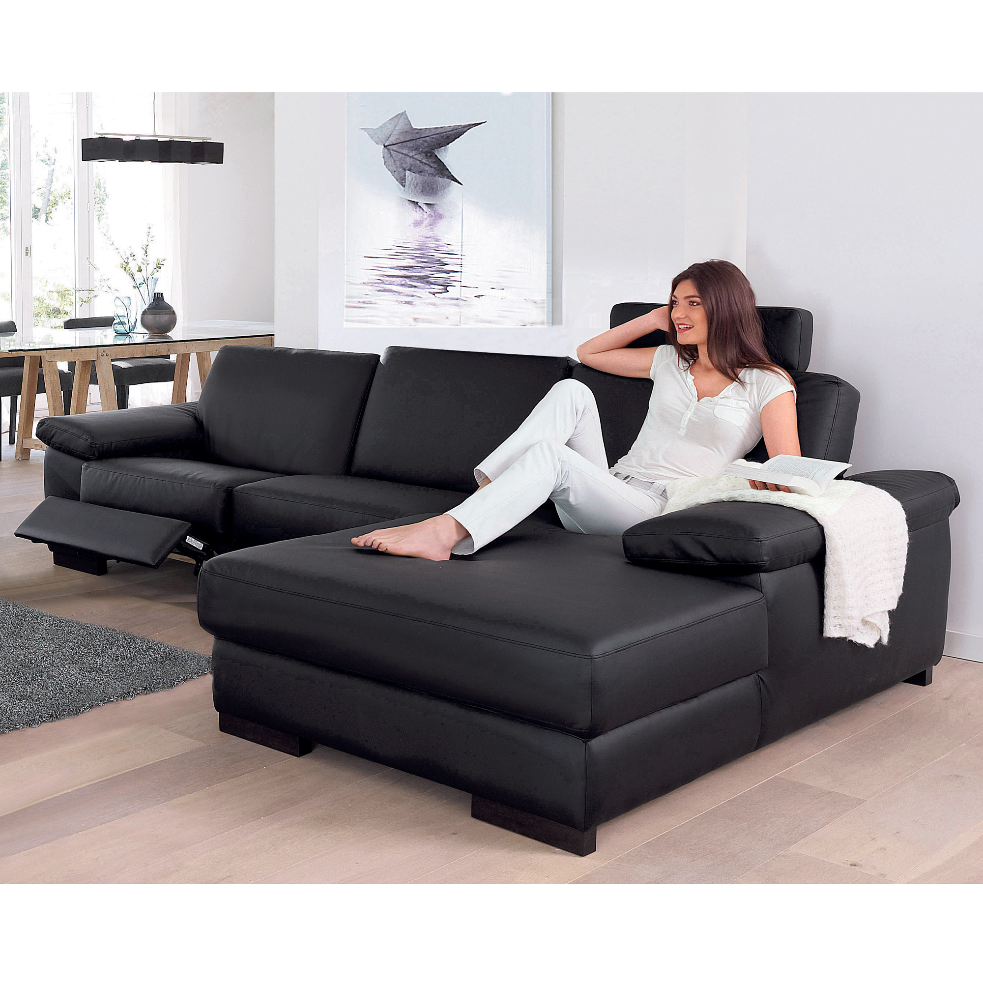 canap d 39 angle droite 1 place relaxation lectrique hamilton rev tement noir anniversaire 40. Black Bedroom Furniture Sets. Home Design Ideas