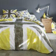 housse de couette imprim e jaune kaki pur coton old flag acheter ce produit au meilleur prix. Black Bedroom Furniture Sets. Home Design Ideas