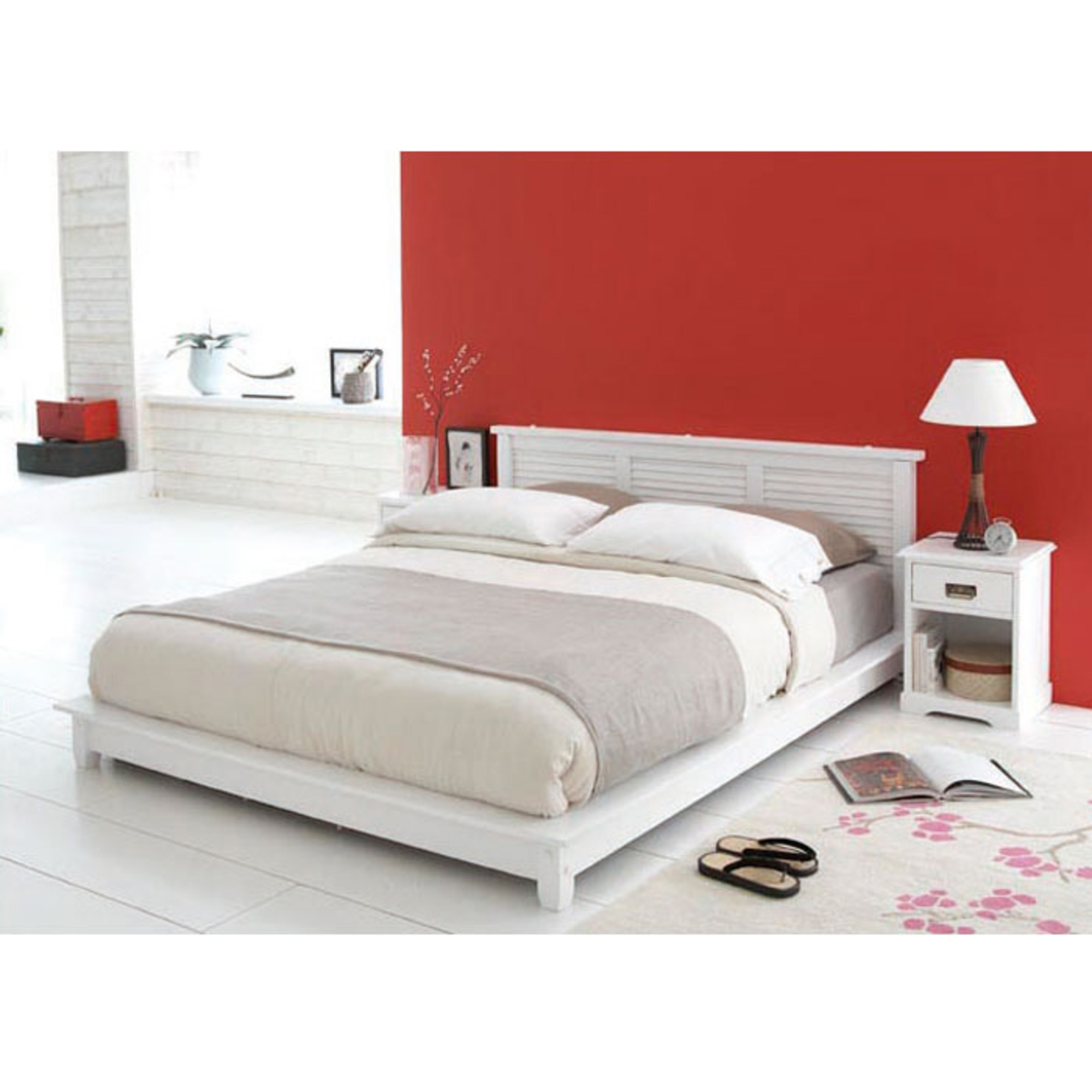 lit 160 x 200 cm plateforme maloom blanc anniversaire. Black Bedroom Furniture Sets. Home Design Ideas