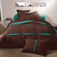 Housse de couette en pur coton bicolore chocolat turquoise - Housse de couette tartine et chocolat ...
