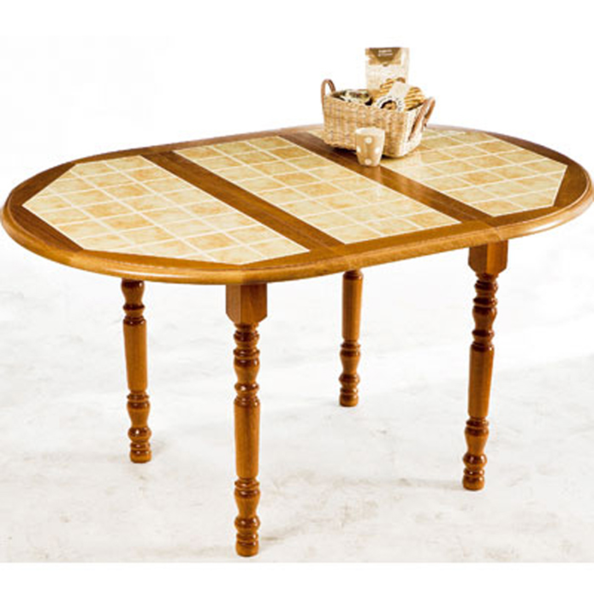 Table fixe ronde carrel e allonge cardamone ch ne for Table rectangulaire de cuisine