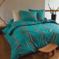 housse de couette en pur coton bleu canard taupe tao. Black Bedroom Furniture Sets. Home Design Ideas