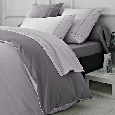housse de couette bicolore coloris mouette h ron percale. Black Bedroom Furniture Sets. Home Design Ideas