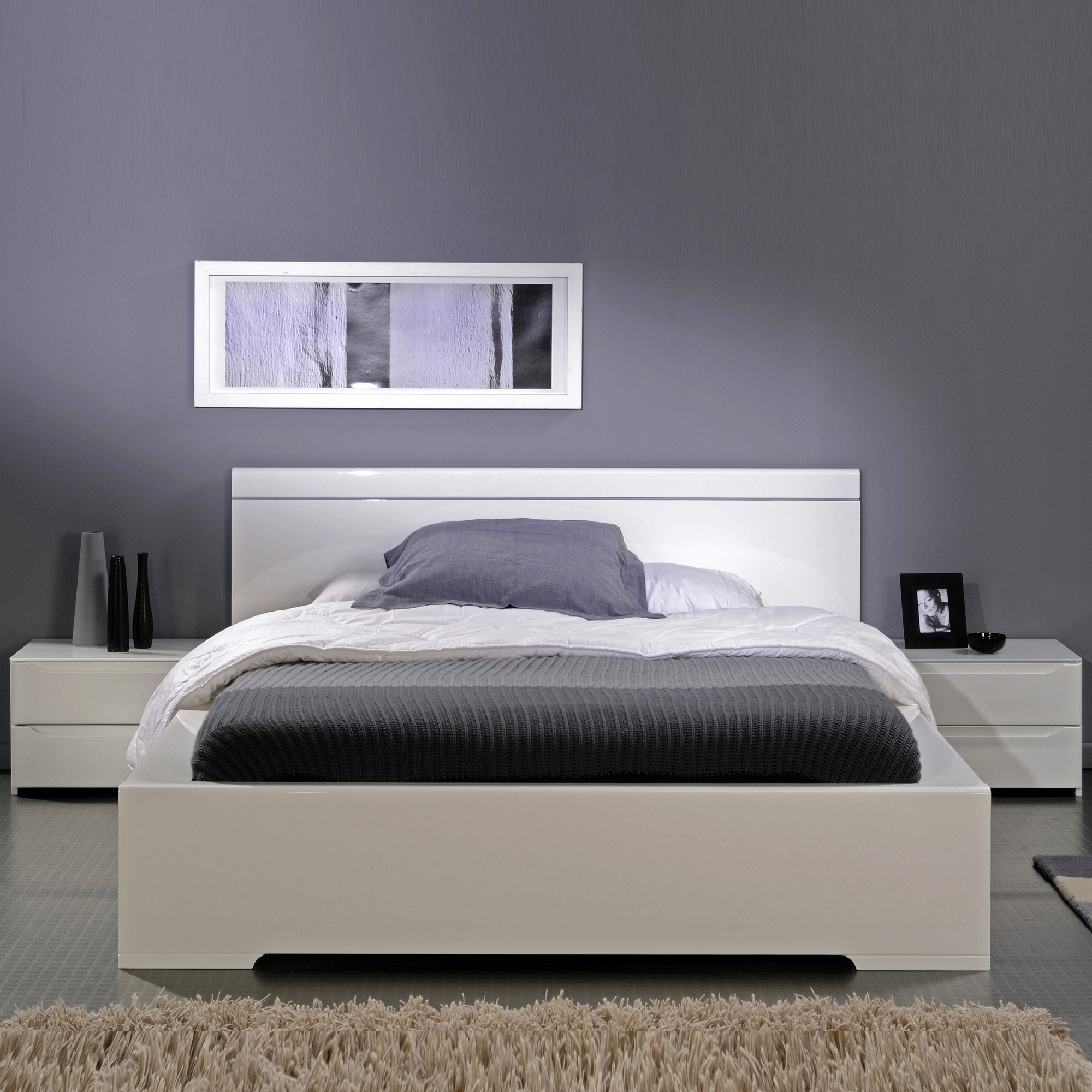 ensemble lit environnement lumineux 160 x 200 avec 2 chevets int gr s amber laqu blanc. Black Bedroom Furniture Sets. Home Design Ideas
