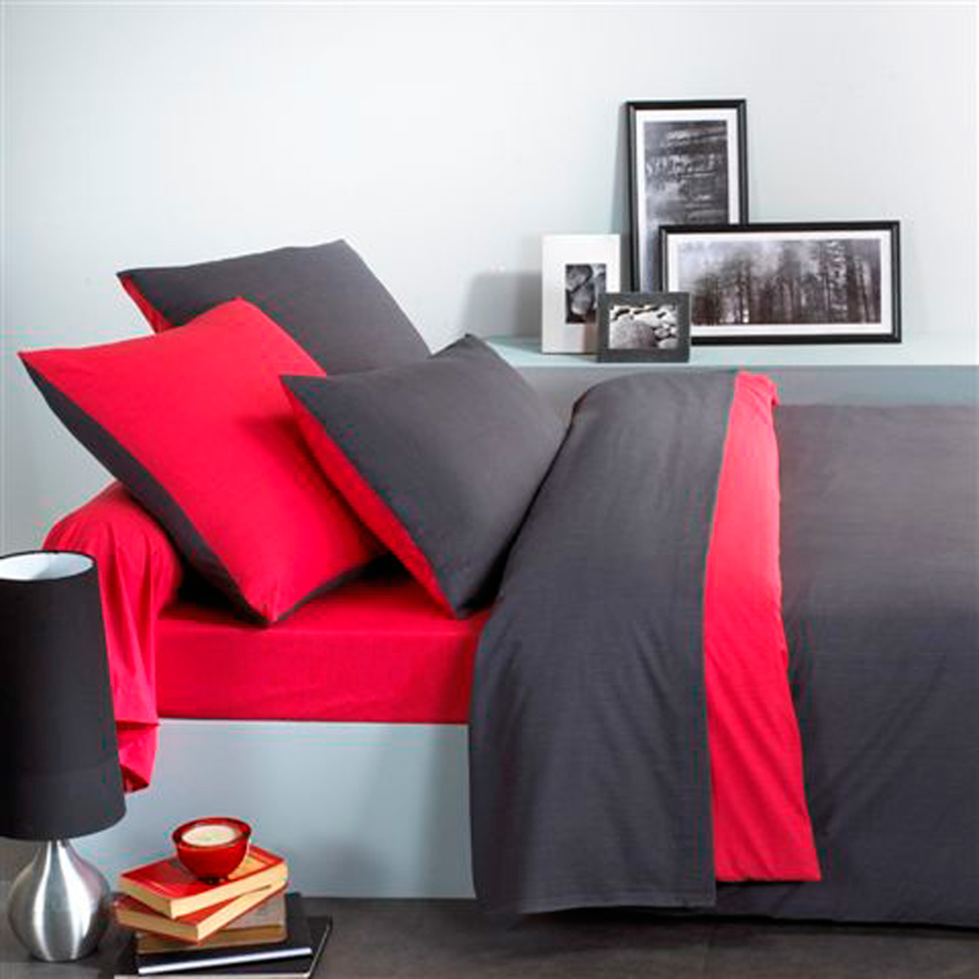 parure de couette 1 pers ecorce rouge noir 140 x 200 cm. Black Bedroom Furniture Sets. Home Design Ideas