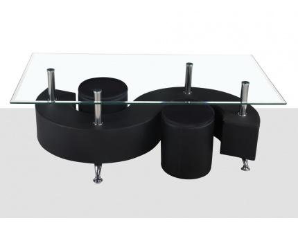 Table basse ying simili cuir 2 poufs inclus noir acheter ce produit au - Table basse simili cuir ...