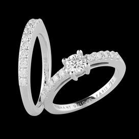 Solitaire et alliance les inséparables - or blanc, diamant central 0 ...