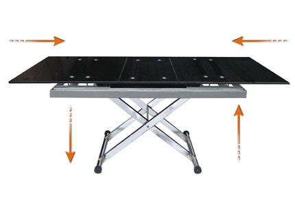 Table basse mamba 1 rallonge hauteur modulable noir for Table extensible en hauteur
