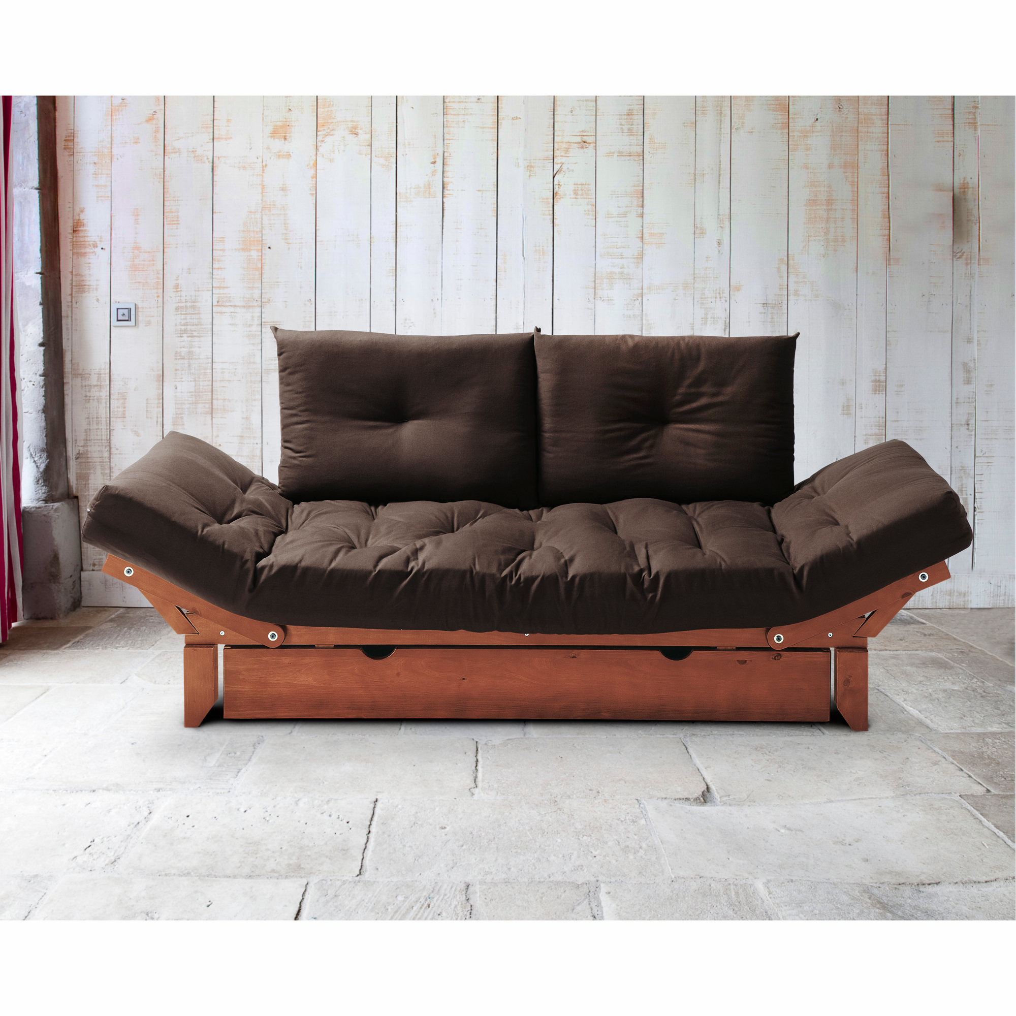 matelas futon 2 coussins pour structure milo chocolat. Black Bedroom Furniture Sets. Home Design Ideas