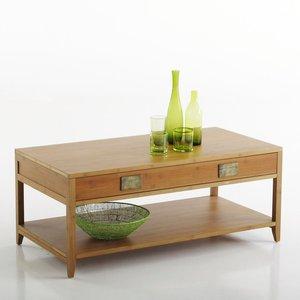 table basse double plateau avec tiroir en bambou rozo acheter ce produit au meilleur prix. Black Bedroom Furniture Sets. Home Design Ideas