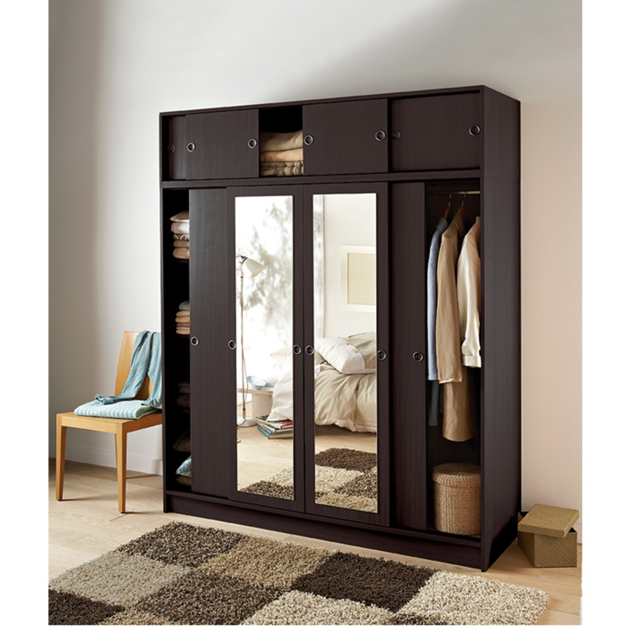 armoire 4 portes coulissantes surmeuble villar al. Black Bedroom Furniture Sets. Home Design Ideas