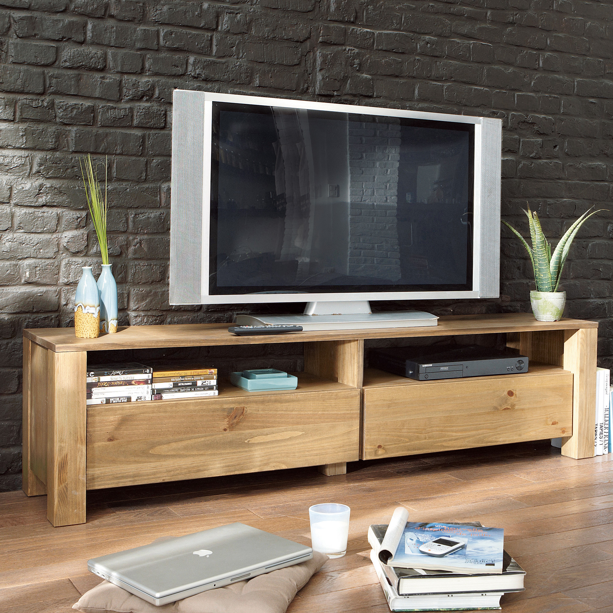 meuble tv 2 niches 2 tiroirs vanille anniversaire 40 ans. Black Bedroom Furniture Sets. Home Design Ideas