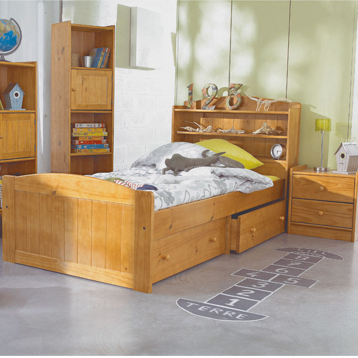 lit enfant avec t te de lit tag re morgan miel. Black Bedroom Furniture Sets. Home Design Ideas