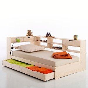 Lit avec tiroir étagères et sommier pin massif maxo - Acheter ce produit au meilleur prix