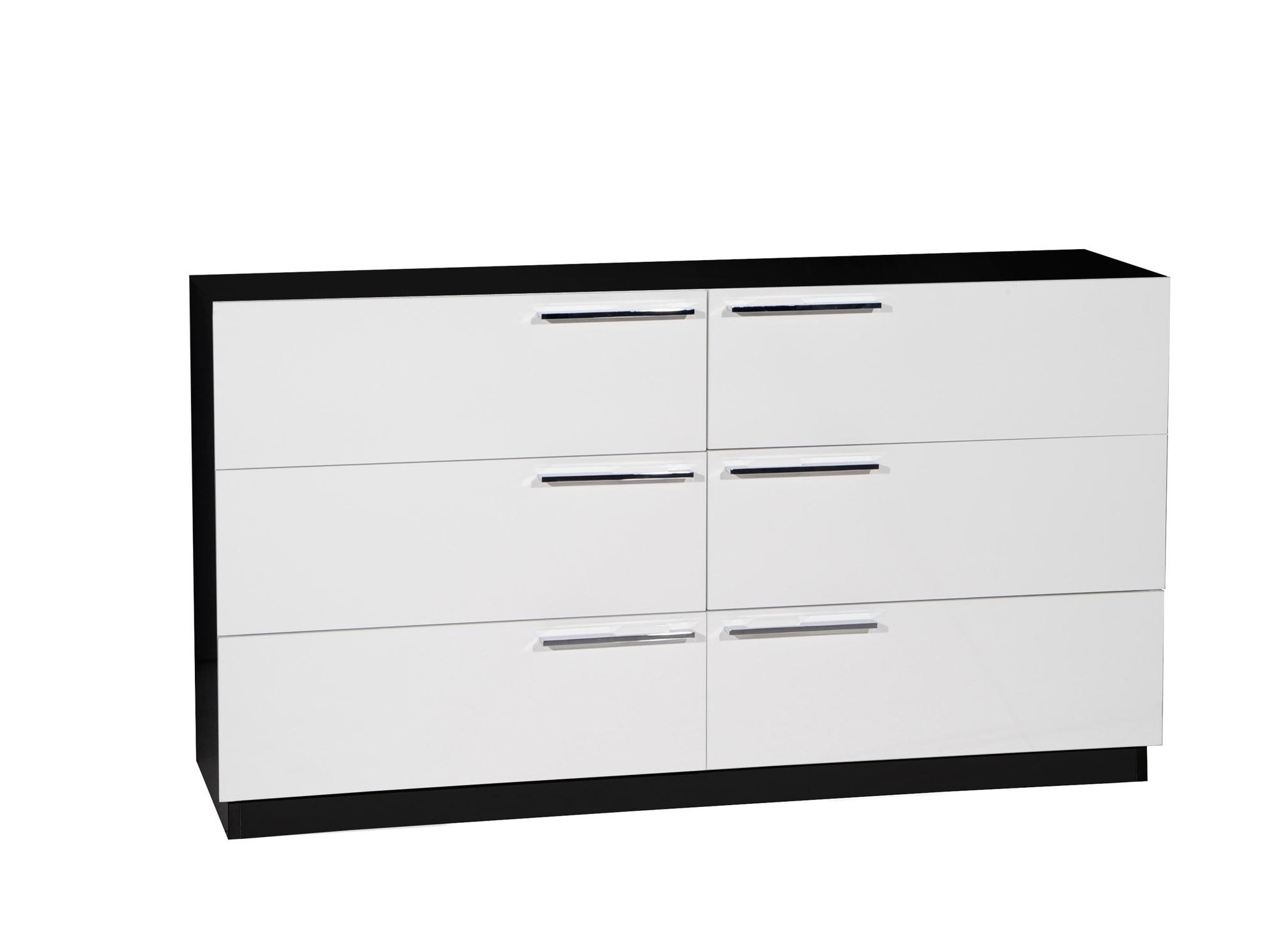 commode 6 tiroirs scoop blanc et noir anniversaire 40. Black Bedroom Furniture Sets. Home Design Ideas