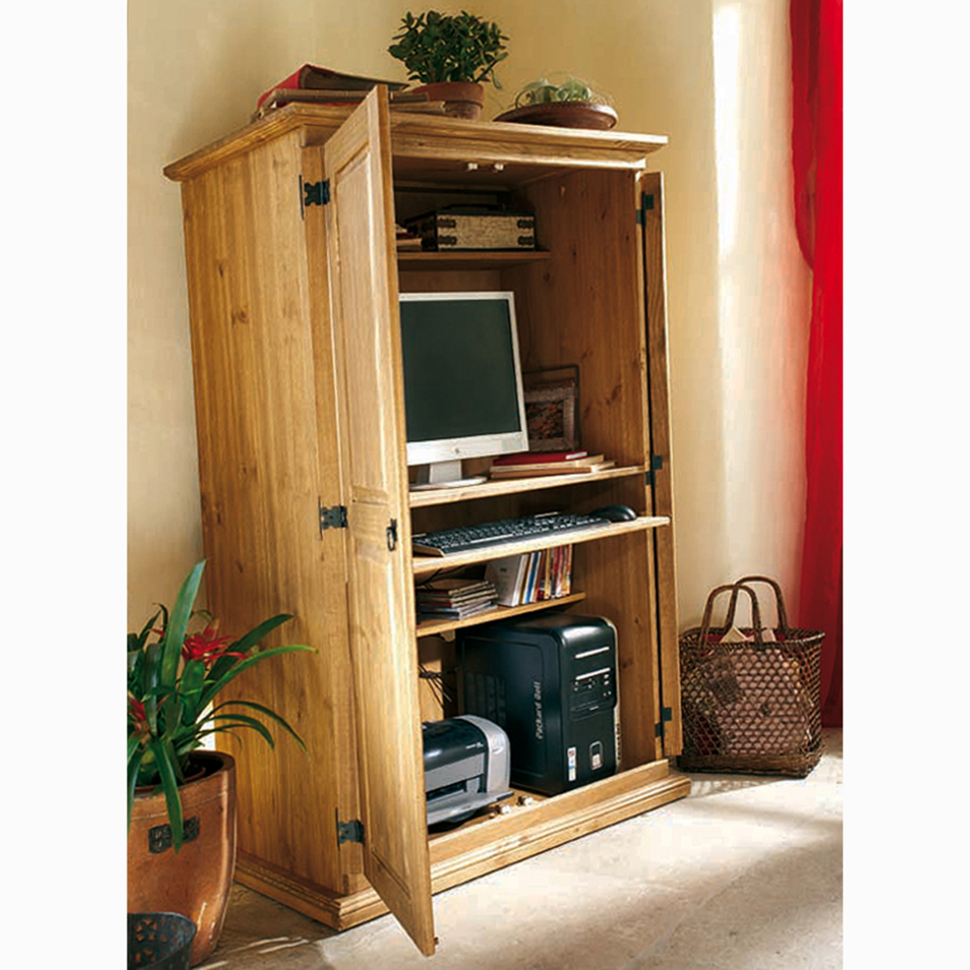 Meuble tv ou armoire micro informatique el patio for Meuble informatique bois