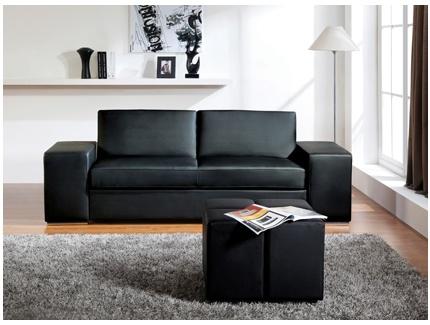 Canap convertible eddy en simili cuir noir 4 poufs inclus acheter ce pro - Convertible simili cuir ...