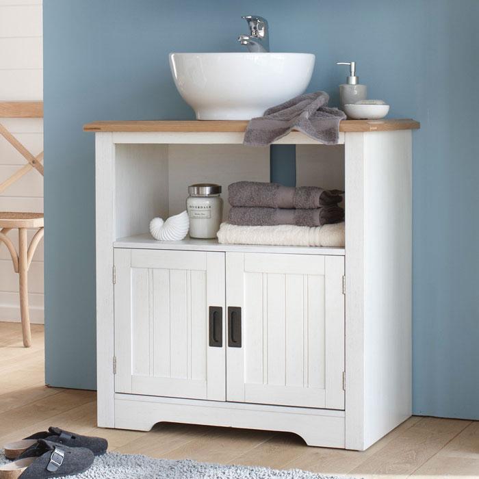 meuble sous vasque 2 portes berling blanc patin. Black Bedroom Furniture Sets. Home Design Ideas