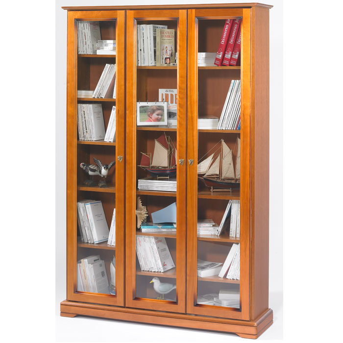 biblioth que style louis philippe 3 portes vitr es alsace anniversaire 40 ans acheter ce. Black Bedroom Furniture Sets. Home Design Ideas
