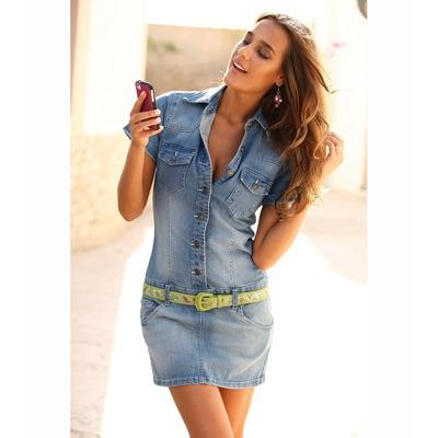 robe courte en jean lastique femme venca acheter ce produit au meilleur prix. Black Bedroom Furniture Sets. Home Design Ideas