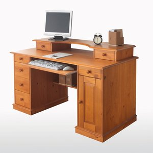 bureau informatique pin massif acheter ce produit au meilleur prix. Black Bedroom Furniture Sets. Home Design Ideas