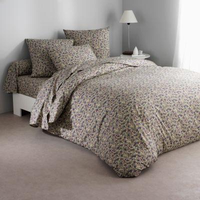 drap plat motif fleuri bleu en pur coton coloris bleu vert flori acheter ce produit au. Black Bedroom Furniture Sets. Home Design Ideas