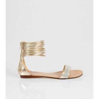 dde29ae323247 Sandales plates dorées avec strass femme venca - Acheter ce produit ...