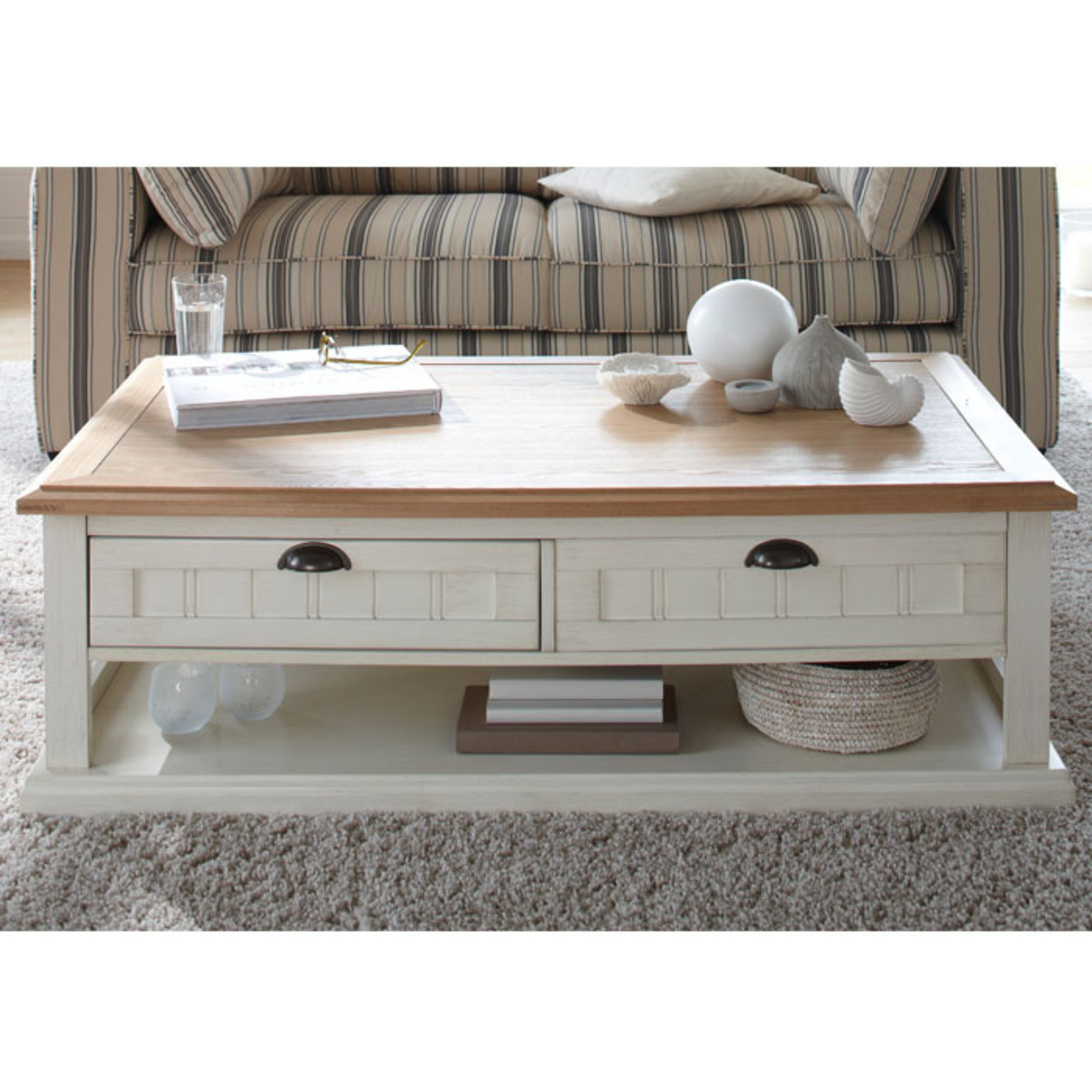 Table basse rectangulaire 2 tiroirs berling blanc patin for Table basse blanche en bois