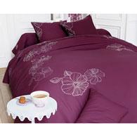 housse de couette prune fleurs brod es becquet acheter. Black Bedroom Furniture Sets. Home Design Ideas