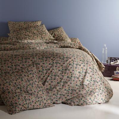 drap plat motif fleuri vert en pur coton coloris vert rose flori acheter ce produit au. Black Bedroom Furniture Sets. Home Design Ideas