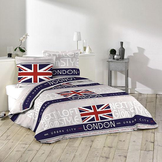 parure de lit 39 london style 39 100 coton acheter ce. Black Bedroom Furniture Sets. Home Design Ideas