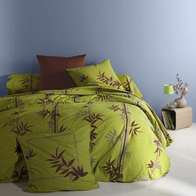 housse de couette en pur coton vert chocolat tao acheter ce produit au meilleur prix. Black Bedroom Furniture Sets. Home Design Ideas
