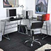 bureau d 39 angle bang plateau verre noir acheter ce produit au meilleur prix. Black Bedroom Furniture Sets. Home Design Ideas