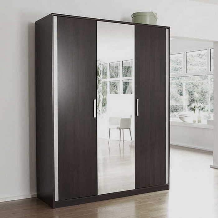 armoire 3 portes avec miroir viva weng gris alu. Black Bedroom Furniture Sets. Home Design Ideas