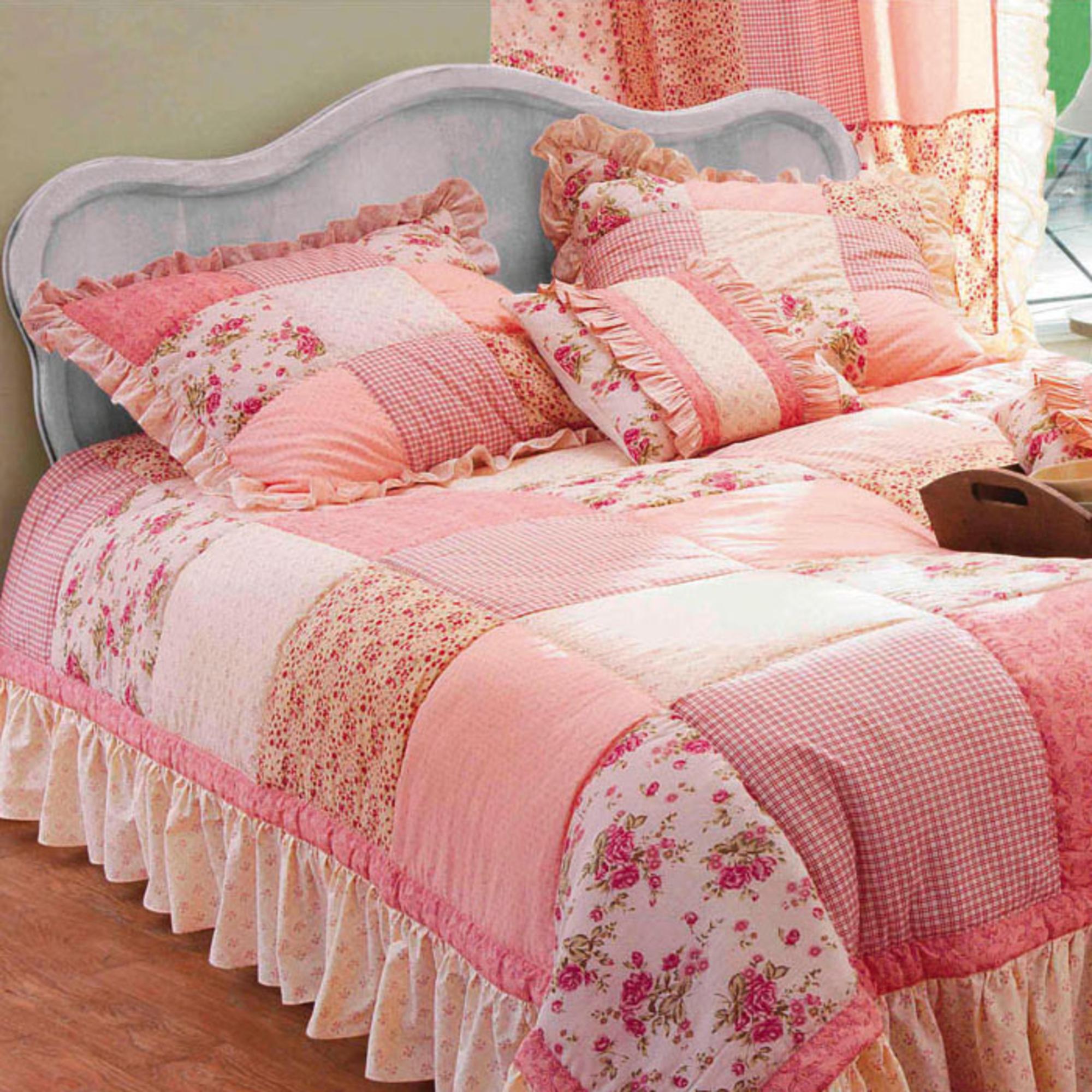 Lot de 2 housses de coussin patchwork ad le rose - Housse de coussin patchwork ...