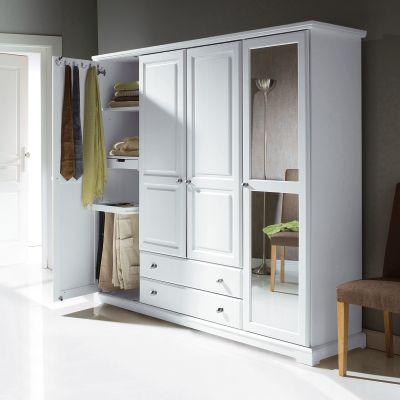 Armoire penderie ling re mod le prestige 4 portes 2 tiroirs miroir range accessoires emma - Armoire penderie lingere ...