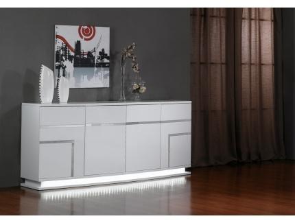 Buffet luminescence mdf laqu blanc et leds 4 portes acheter ce produit - Buffet de salon design ...