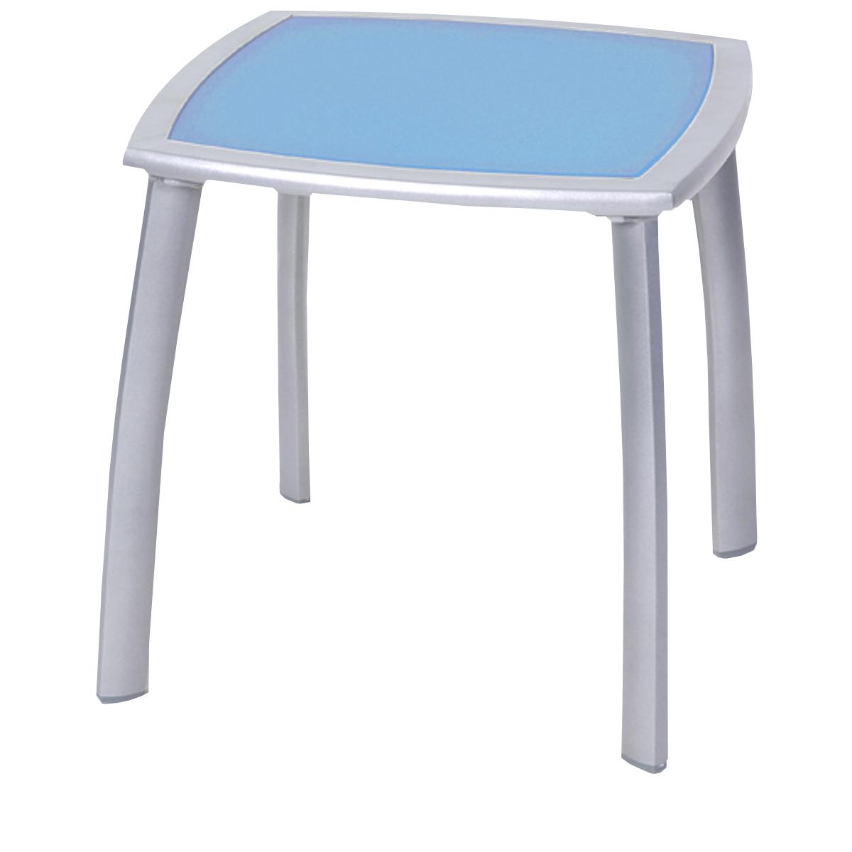 Table d 39 appoint cuzco bleue alu et verre teint x l for Table d appoint jardin