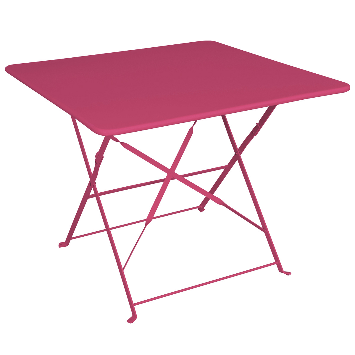 Table camargue framboise structure m tal epoxy dim 90 x 90 cm jardin - Table de jardin en metal ...